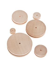 Wooden Pulleys 4mm Bore. Pack of 10