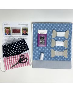 Face Mask Kit (Pack of 2) Grey and White Spot on Blue
