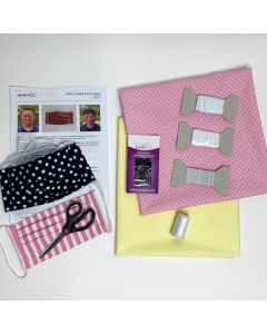 Face Mask Kit (Pack of 2) Lemon and White Spot on Pale Pink