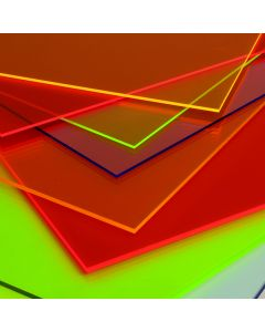 Fluorescent Perspex Cast Acrylic Sheet - 1000 x 500 x 3mm - Assorted Colours